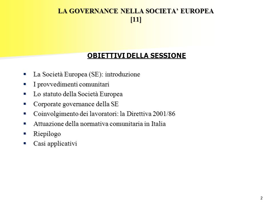 LA GOVERNANCE NELLA SOCIETA' EUROPEA [11]